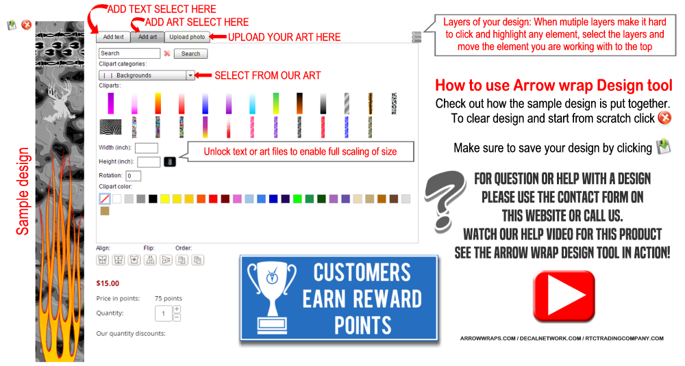 how to use the arrow wrap design tool online