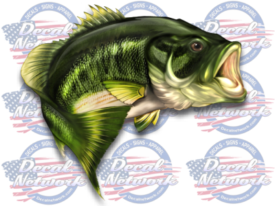 Large Mouth Bass Fish Vinyl Decal Sticker Fishing