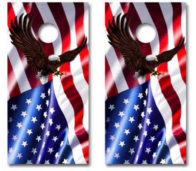 American Flag Usa With Eagle Cornhole Board Decal Wrap