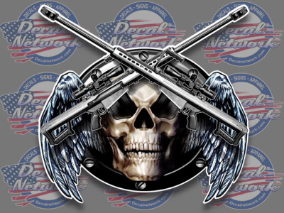 Military Skull Wings Weapons Gun Army Marine