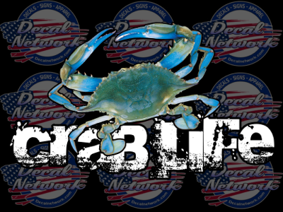 Crab Life Full Color Blue Crab Vinyl Car Truck Window Decal