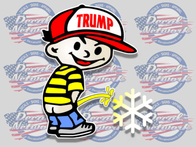 Peeboy Pissing Boy Trump Cap Hat Peeing On Snowflake