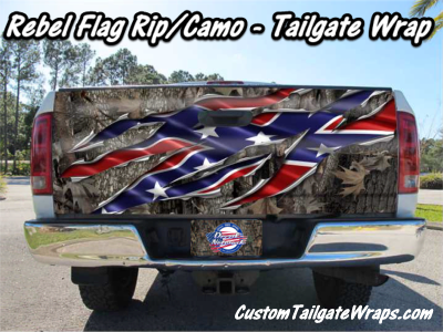 Rebel Flag Camo Rip Metal Tailgate Wrap