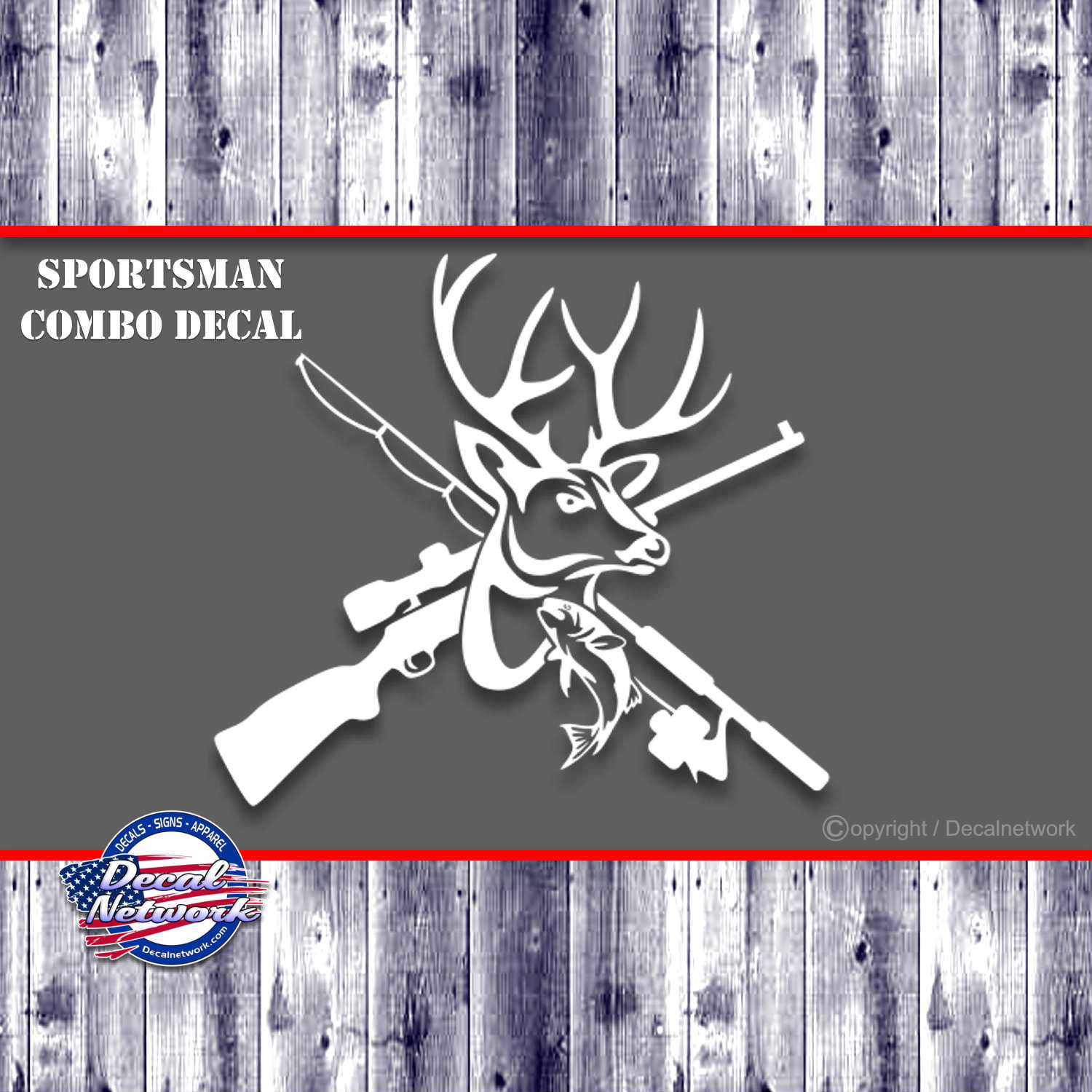Sportsman combo decal hunting fishing deer fish vinyl decal multiple sizes and color options