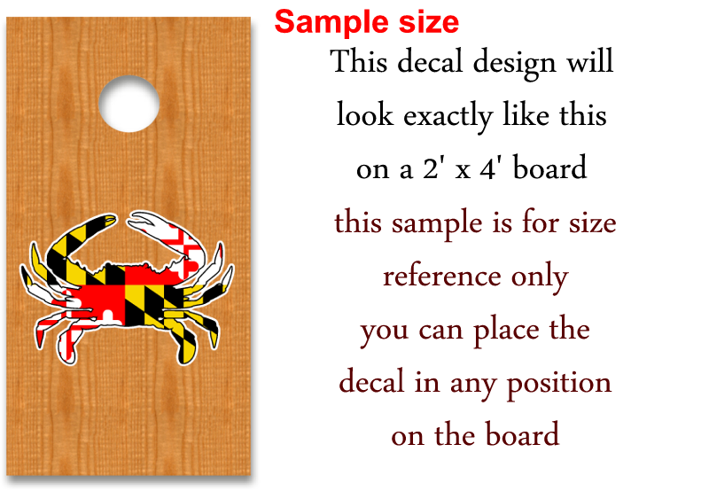 MARYLAND FLAG blue crab cornhole board decal