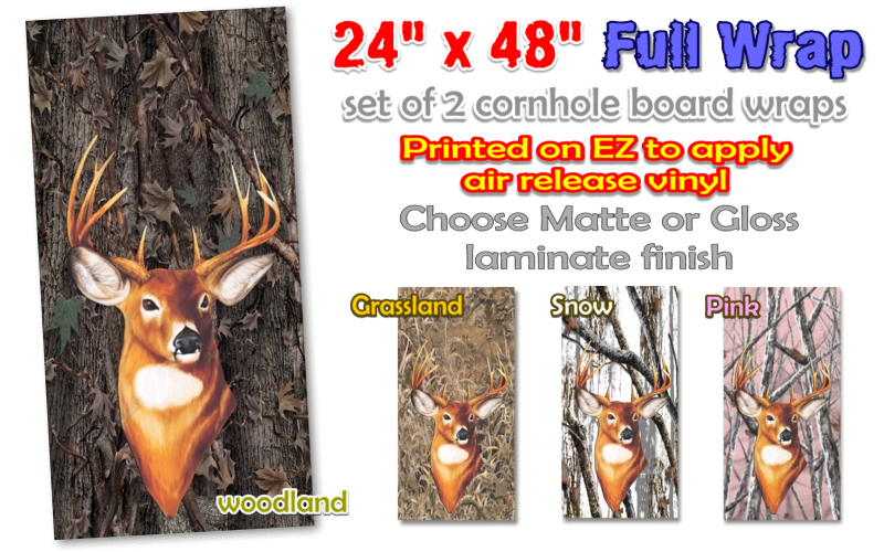 camouflage cornhole board wrap decal deer