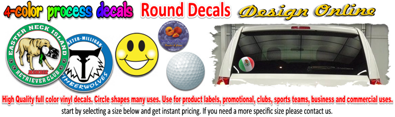 custom full color round decals