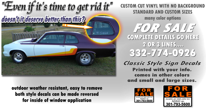 Forsale For Sale Custom Vinyl Decals - Custom vinyl decals for cars   removal options