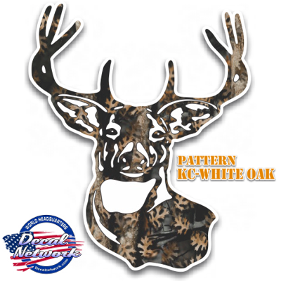 Camouflage Deer Head Hunting Vinyl Decal Sticker For Car