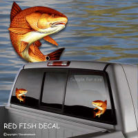 RED FISH vinyl decal fish window