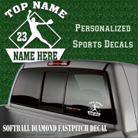 custom softball fastpitch decal personalize