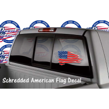 schredded American flag window decal