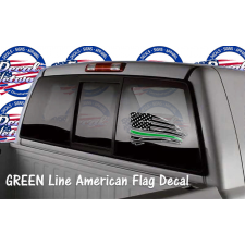 schreded American flag window decal GREEN line