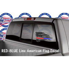 schreded American flag window decal red blue line