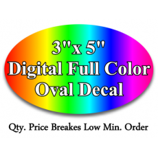 "custom digital 3""x 5"" oval decal"