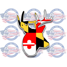 maryland flag deer buck head decal