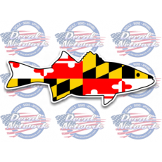 maryland flag striped bass rock fish decal