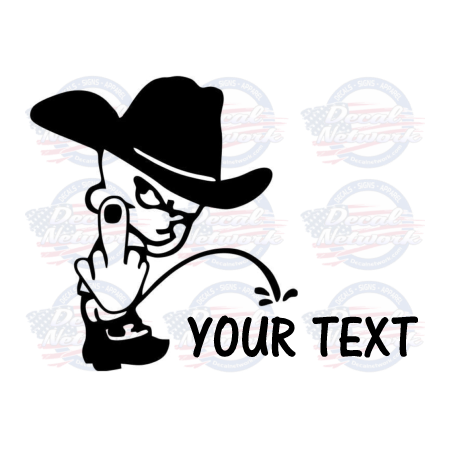 Pee Boy Cowboy Hat middle finger pissing on your custom text