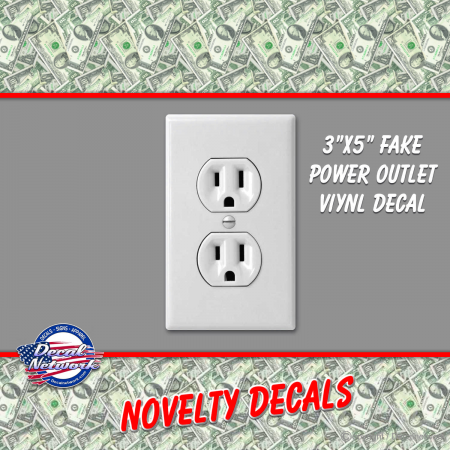Fake Gag Power - Electrical Outlet Vinyl Decal
