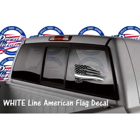 schreded American flag window decal WHITE line