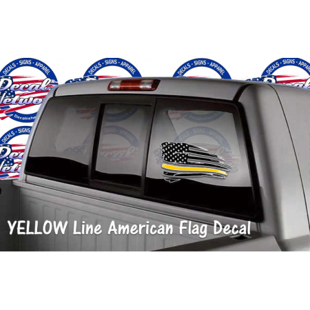 schreded American flag window decal YELLOW line
