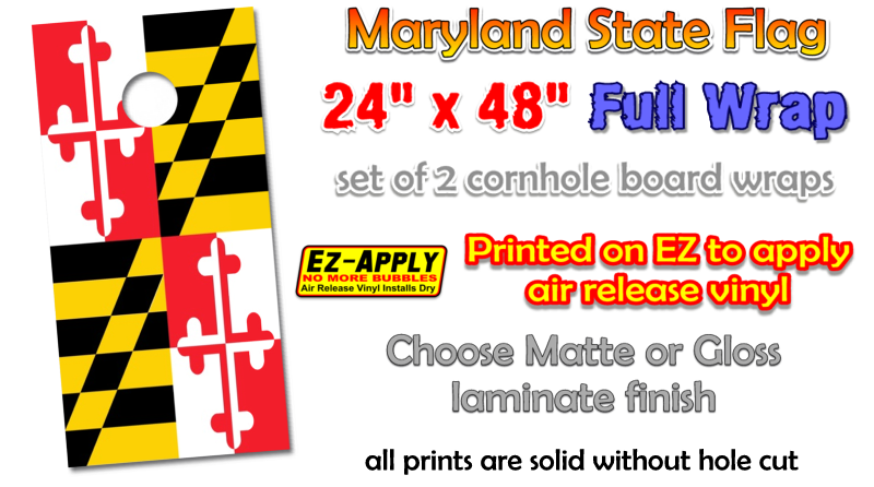 Marylnd state flag cornhole board wrap